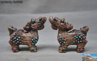 Chinese Old jade silver Filigree Inlay turquoise Red Coral gem beast statue Pair