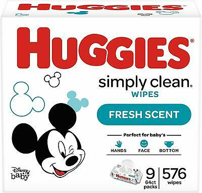 9 Soft Pack 576 Count HUGGIES Simply Clean Fragrance Free Baby Wipes Wet Wipe