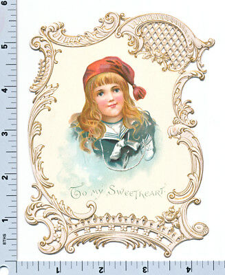 Vintage Victorian Card - Boy in Sailor Suit - Die Cut and Embossed