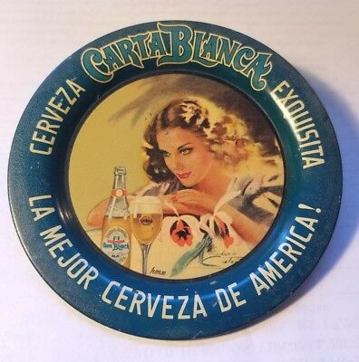 Circa 1930/40s Carta Blanca Beer Tip Tray Pretty Girl with Bottle Artist Signed