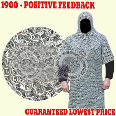 ALUMINIUM ROUND RIVETED CHAIN MAIL SHIRT 9mm 16G MEDIEVAL CHAINMAIL + COIF QUEEN