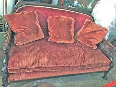 Victorian Mahogany Sofa Carved Arms Paw Feet Cane Sides Couch Velvet Rose Rust