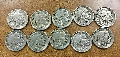 1928-s  Buffalo Nickels LOT of 10 NICE  VF coins, upgrade sets