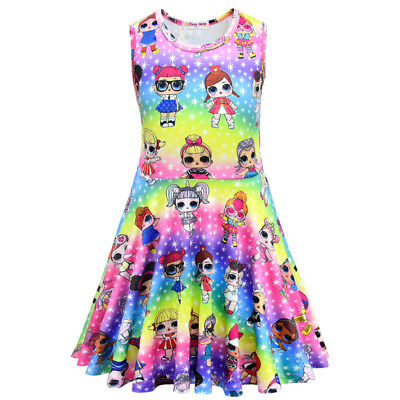 Colorful LOL Surprise Dolls Dresses Rainbow Sleeveless Kids Girls Princess Dress