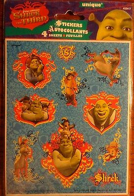 SHREK 3 Scrapbook Stickers! 4 sheets of 10 OGRE Princess Fiona Total 40 stickers