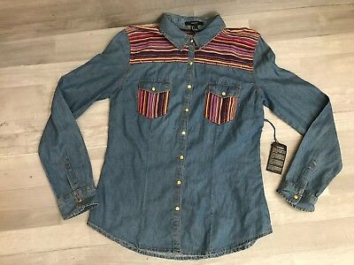 d8f3cdcd532 FOREVER 21 OVERSIZE Button Down Shirt Size Large Womens Blue Striped ...