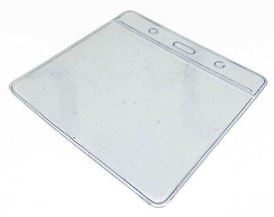Clear ID Card Badge Pass Holder Pocket Plastic Wallet 5 Sizes Available FREEPOST