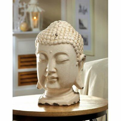 Buddha -Accent Plus Crackle Glazed White Buddha Head Statue