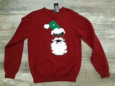 Volcom Ugly Christmas sweater Santa Clause NWT Youth M 10 Medium Red