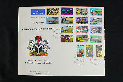 Nigeria 1973 FDC Definitive Industrail & Tourism XL First Day Cover w/17 Stamps!