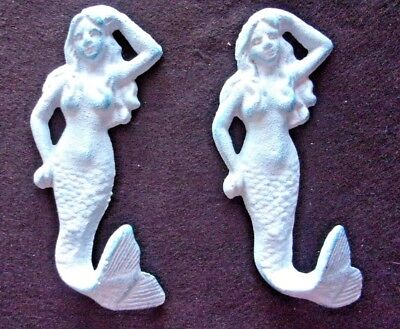 """Cast Iron Costal Nautical """"ocean Blue"""" Mermaid With Tail Hook (Set Of 2) 516B"""