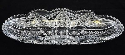 Antique J Hoare 1853 Corning NY ABP American Brilliant Cut Glass Crystal Tray