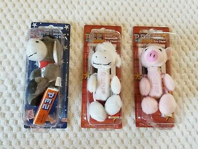 NIP 2 PEZ PETZ Barnyard Babies Piggy & Lamb~ 1 PEZ Party Animal Democrat
