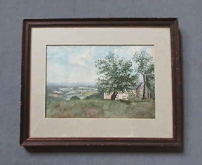Antique Early 1900's Watercolor Landscape Painting