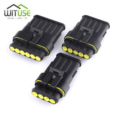 5X Waterproof Electrical Car Wire Connector Plug 1/2/3/5/6 Pin Way Terminals E3