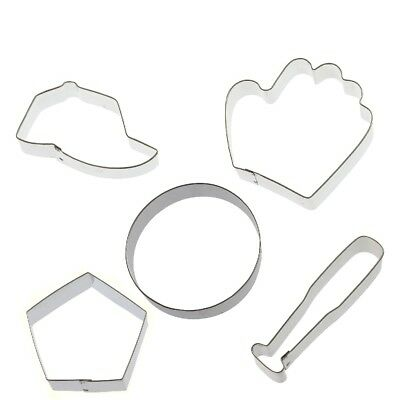 5 Baseball Cookie Cutters Glove Hat Bat Home Plate Softball Sport Birthday Party