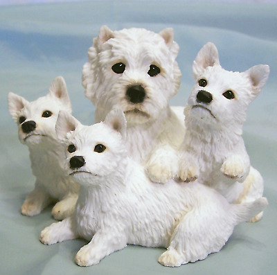 New MIB Border Fine Arts Westie West Highland Terrier Dog w Puppies Figurine NOS