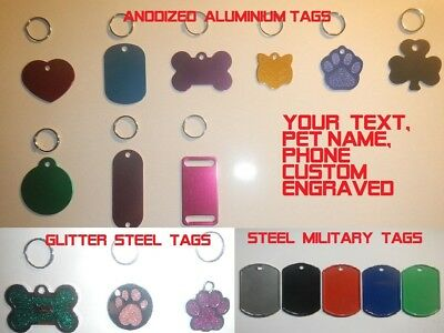 DOG ID Tag Personalized Custom Engraved  PET NAME TAGS, CAT, DOG TAGS, CHARMS ID