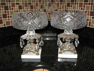 2 Antique Crystal Brass Marble Compote Pedestal Bowl Cut Glass Prism Centerpiece
