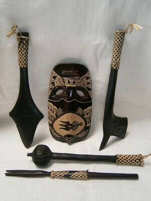 5 Fijian Carved Wood Souvenir Weapons - Shield & 4 Weapons - Home Decor.