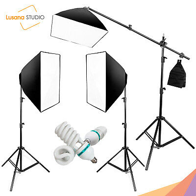 Photography Photo Studio 3 Softbox Light Stand Continuous Lighting Kit Diffuser
