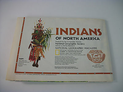 Vintage 1974 National Geographic Fold Up Map of Indians of North America