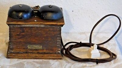 Western Electric Model 127 F Wooden Ringer Box Wired w/Modular Jack Cloth Cords
