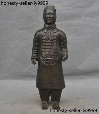 Old Chinese Qin dynasty Bronze ware station Terracotta Warriors soldier Statue