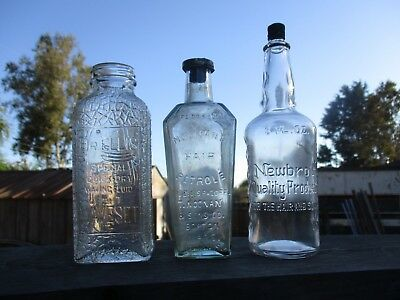 (3) Antique Barber Shop Bottles. All In Great Shape !!! Beautiful Lot !!