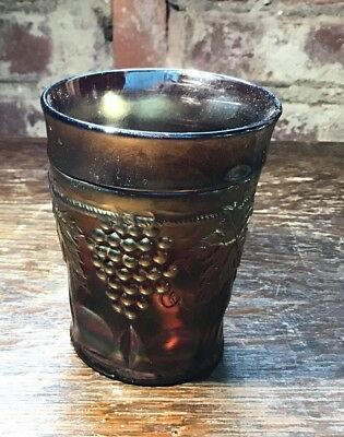 Northwood Grape And Cable With Thumbprint Band Antique Carnival Tumbler Cup Eapg