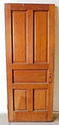 Antique 1800's Wooden DOOR Interior Five Panel Raised Victorian Style Fir ORNATE