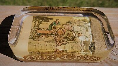 Old Crow Glass Advertising Paperweight James Crow Ships Whiskey to Henry Clay