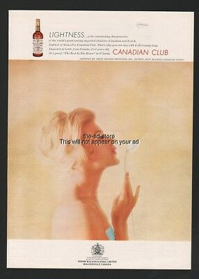1961 Canadian Club CC Whiskey GORGEOUS Blonde Blowing Dandelion Wishes Ad