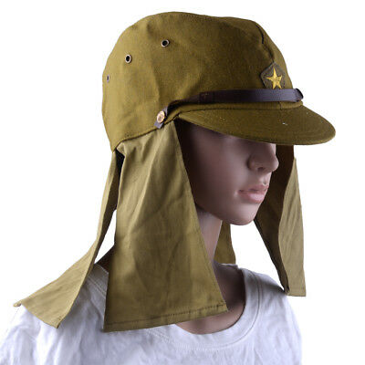 Japanese Army IJA Soldier WWII WW2 Field Wool Cap Hat With Havelock Neck Flap