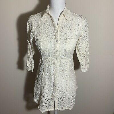 e01b94df3e8a03 EQUIPMENT FEMME WOMEN S Ivory Floral Lace Button Front Tunic Blouse ...