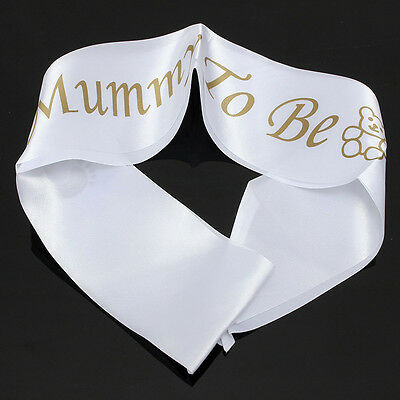 """""""MUMMY TO BE"""" White Satin Sash Banner Ribbon Baby Shower Party Favor Mom*1Pc"""