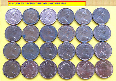 SET OF 24 x CIRCULATED 1c COINS: 1966 – 1990, SANS 1986 (160336)