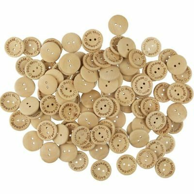 100 PCS Hand Made With Love Wood Button 2 Holes DIY Craft Sewing Scrapbooking