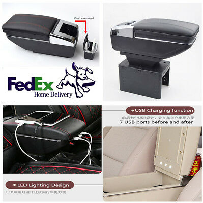 Update Rechargeable Car Central Container Armrest Storage Content Box Cup Holder