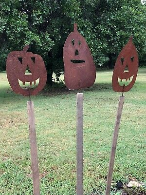 LOT OF 3 Rustic Halloween Jack O' Lantern Garden Stake Lawn Ornament Made in USA