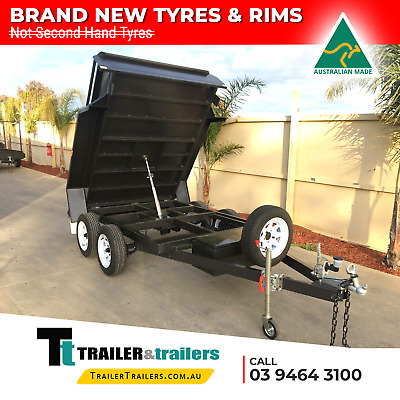8X5 Tandem Axle Standard Hydraulic Tipper Box Trailer - New Wheels & Tyres