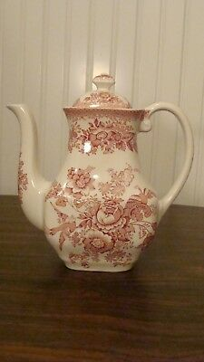 """Enoch Wedgwood Asiatic Pheasants Pink Coffee Pot 7.7"""" tall Made in England"""