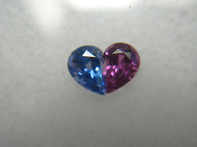 rare Ruby & Sapphire gem pair Fancy Heart Cut set Red Blue Fluorescent 0.59ct