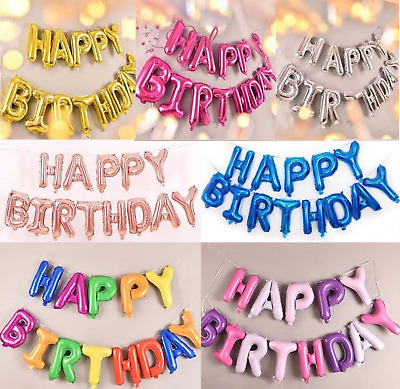 Happy Birthday Balloons Party Decoration Self Inflating Banner Balloon Letters