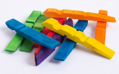 1000 × Half Wooden Pegs - Craft work - 73mm Long - Mixed Color - Little Learner