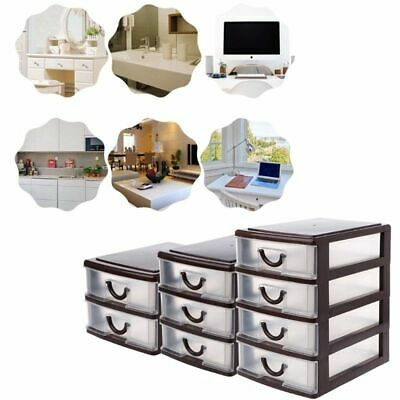 4 Drawer Tower Organizer Plastic Storage Cabinet Office Bin White Box Desktop