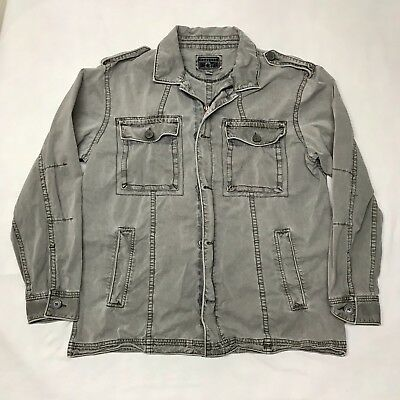 Converse One Star Mens Military Style Gray Zip Button Jacket Size Large