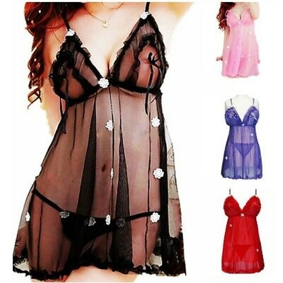 Women Sexy lace Mesh Sling Pajamas Lingerie Babydoll Dressing Gowns underwear