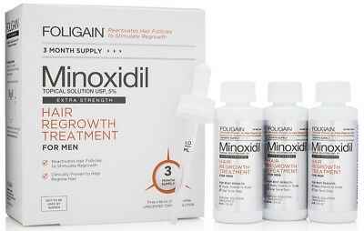 Foligain Minoxidil 5% Hair Regrowth Treatment For Men 3 Month Supply
