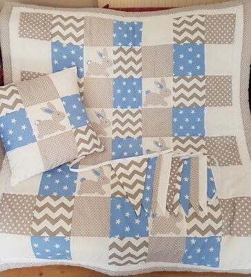 Handmade Patchwork Bunnies/Rabbits Cotbed Quilt Set Blue